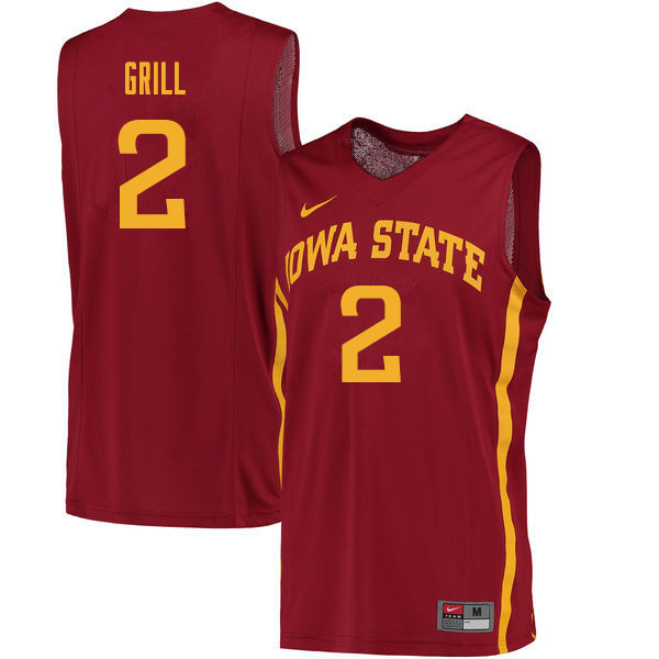 Men #2 Caleb Grill Iowa State Cyclones College Basketball Jerseys Sale-Cardinal