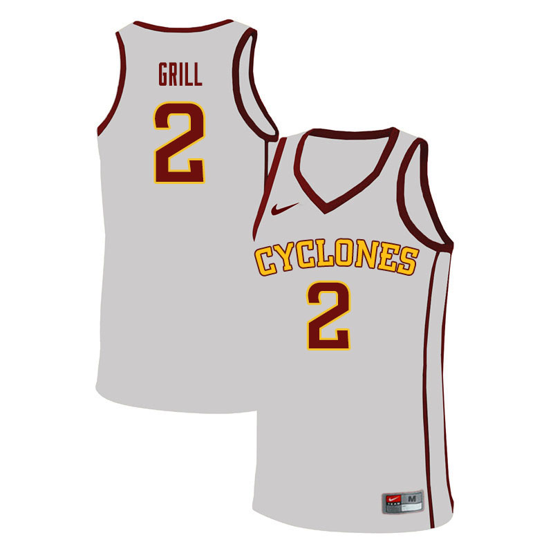 Men #2 Caleb Grill Iowa State Cyclones College Basketball Jerseys Sale-White