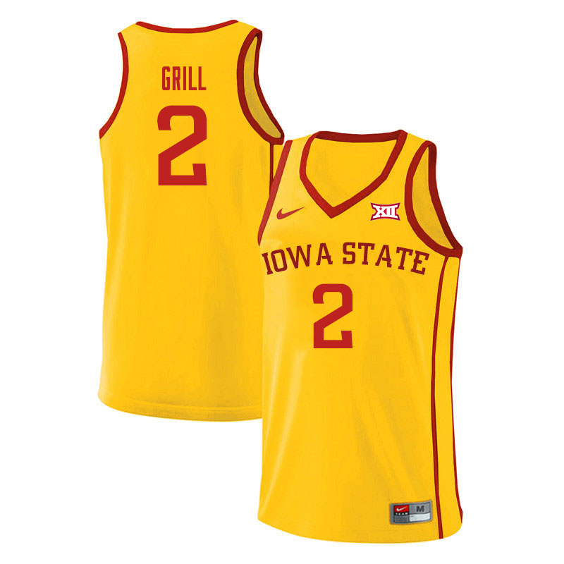 Men #2 Caleb Grill Iowa State Cyclones College Basketball Jerseys Sale-Yellow