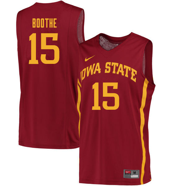 Men #15 Carter Boothe Iowa State Cyclones College Basketball Jerseys Sale-Cardinal