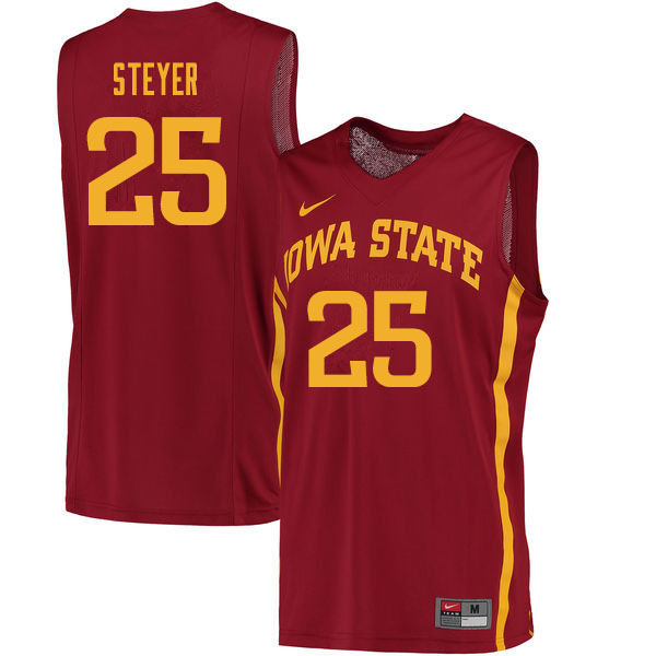 Men #25 Eric Steyer Iowa State Cyclones College Basketball Jerseys Sale-Cardinal