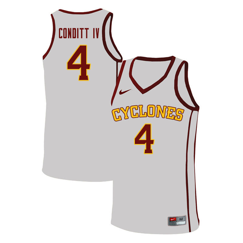 Men #4 George Conditt IV Iowa State Cyclones College Basketball Jerseys Sale-White