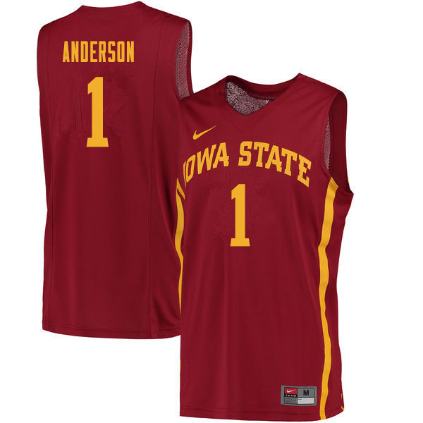 Men #1 Luke Anderson Iowa State Cyclones College Basketball Jerseys Sale-Cardinal
