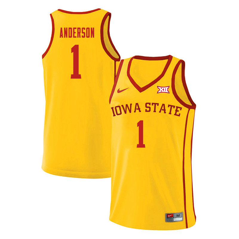 Men #1 Luke Anderson Iowa State Cyclones College Basketball Jerseys Sale-Yellow
