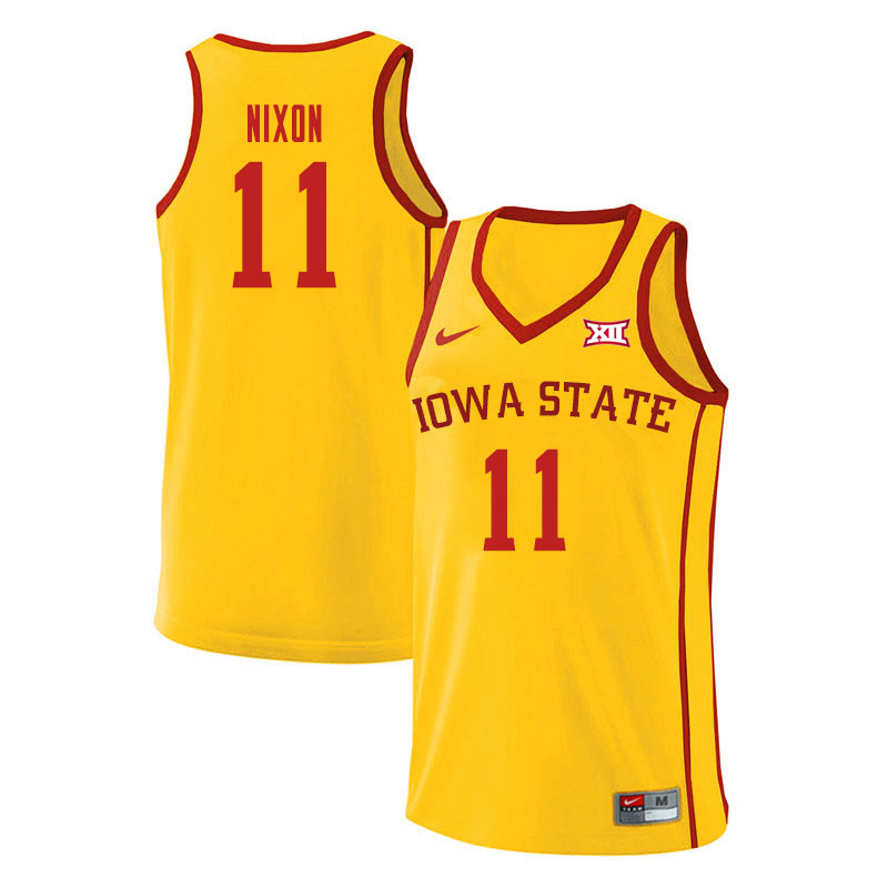 Men #11 Prentiss Nixon Iowa State Cyclones College Basketball Jerseys Sale-Yellow