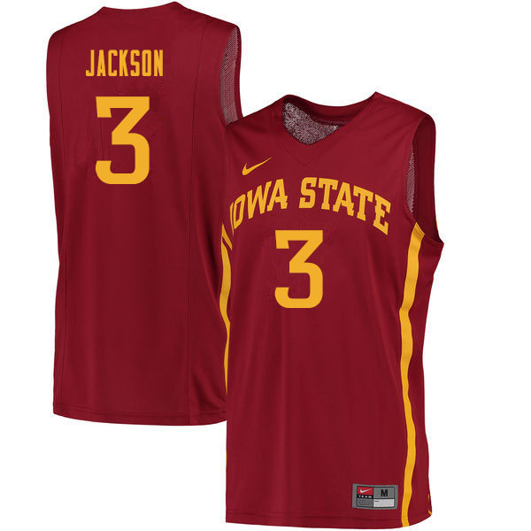 Men #3 Tre Jackson Iowa State Cyclones College Basketball Jerseys Sale-Cardinal