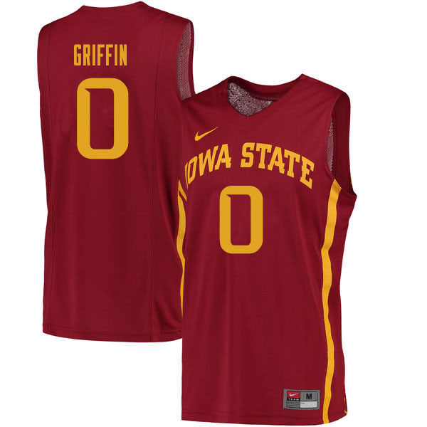 Men #0 Zion Griffin Iowa State Cyclones College Basketball Jerseys Sale-Cardinal