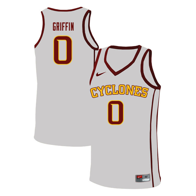 Men #0 Zion Griffin Iowa State Cyclones College Basketball Jerseys Sale-White