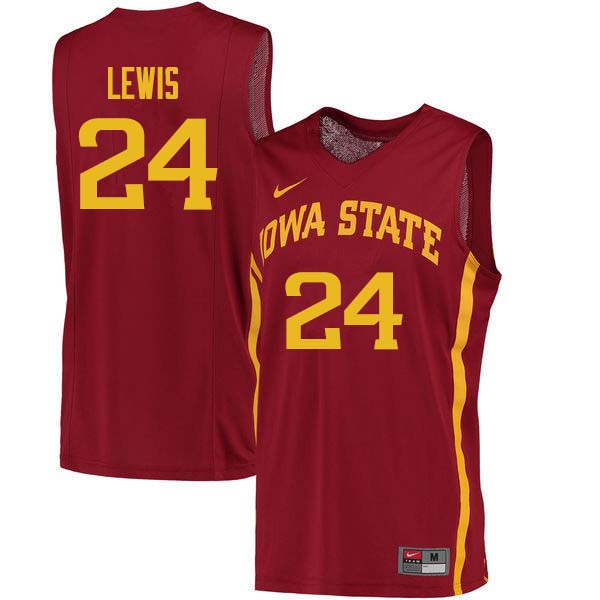 Men #24 Terrence Lewis Iowa State Cyclones College Basketball Jerseys Sale-Cardinal