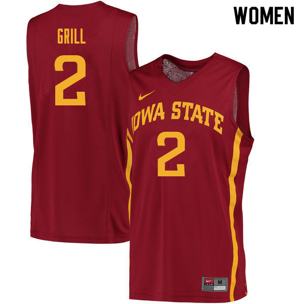 Women #2 Caleb Grill Iowa State Cyclones College Basketball Jerseys Sale-Cardinal