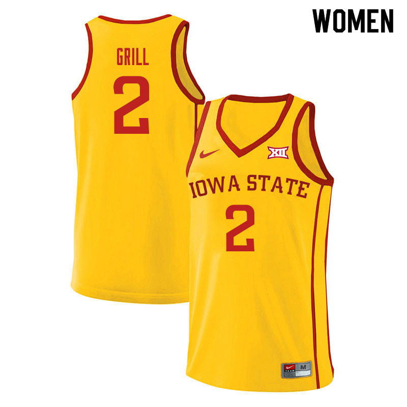 Women #2 Caleb Grill Iowa State Cyclones College Basketball Jerseys Sale-Yellow