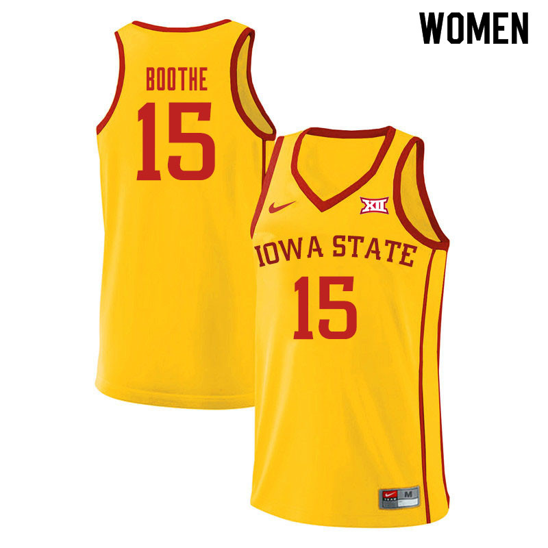 Women #15 Carter Boothe Iowa State Cyclones College Basketball Jerseys Sale-Yellow