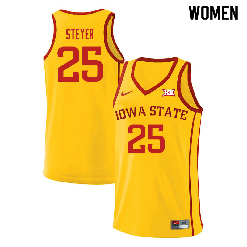 Women #25 Eric Steyer Iowa State Cyclones College Basketball Jerseys Sale-Yellow