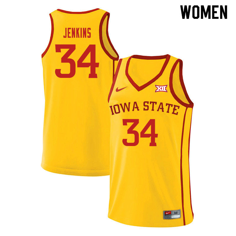Women #34 Nate Jenkins Iowa State Cyclones College Basketball Jerseys Sale-Yellow