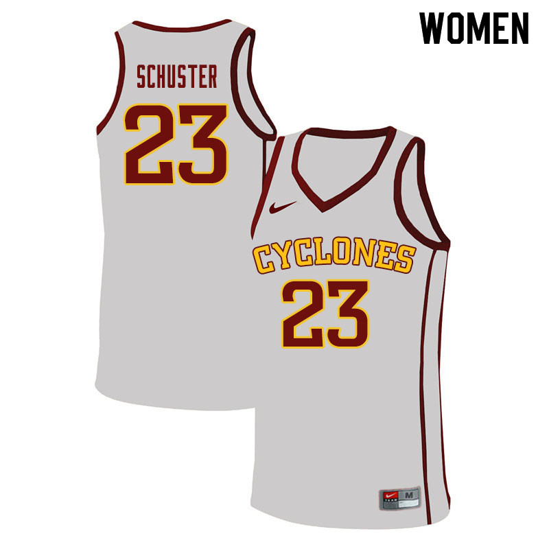 Women #23 Nate Schuster Iowa State Cyclones College Basketball Jerseys Sale-White