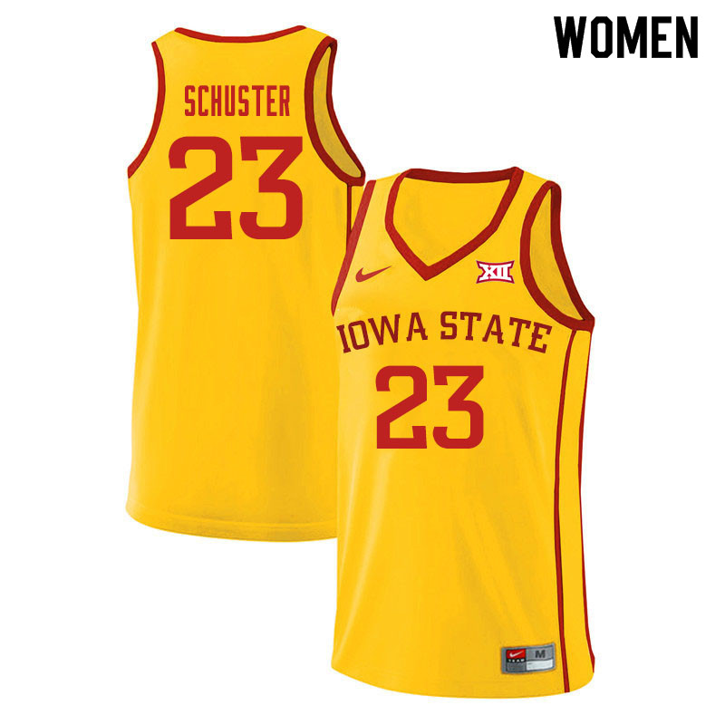 Women #23 Nate Schuster Iowa State Cyclones College Basketball Jerseys Sale-Yellow