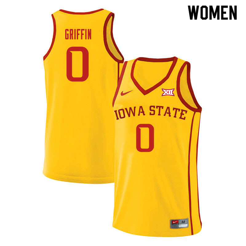 Women #0 Zion Griffin Iowa State Cyclones College Basketball Jerseys Sale-Yellow