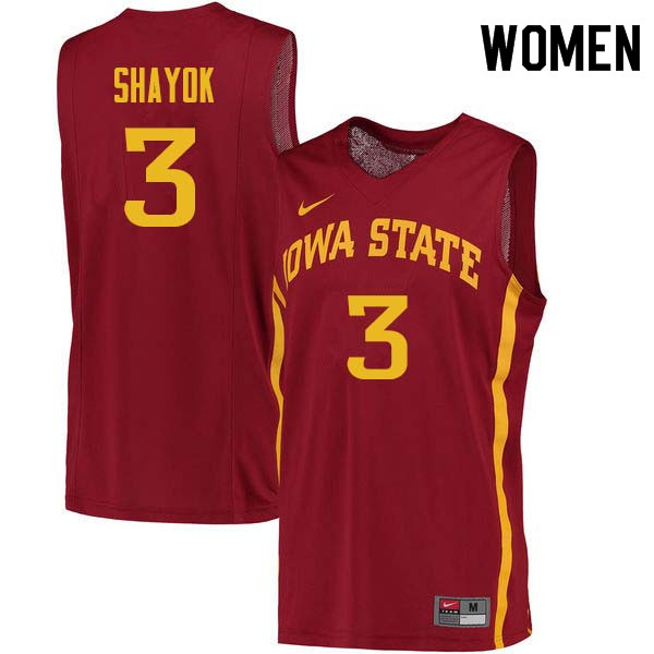 Women #3 Marial Shayok Iowa State Cyclones College Basketball Jerseys Sale-Cardinal