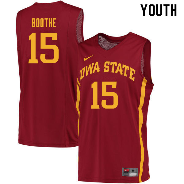Youth #15 Carter Boothe Iowa State Cyclones College Basketball Jerseys Sale-Cardinal