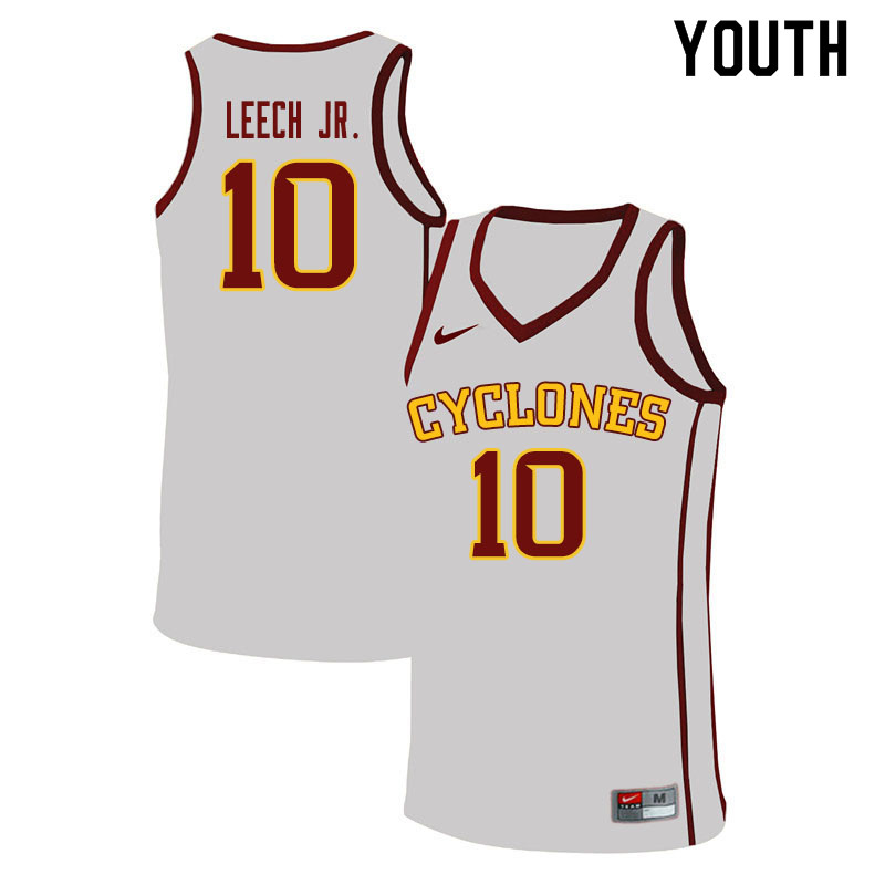 Youth #10 Marcedus Leech Jr. Iowa State Cyclones College Basketball Jerseys Sale-White