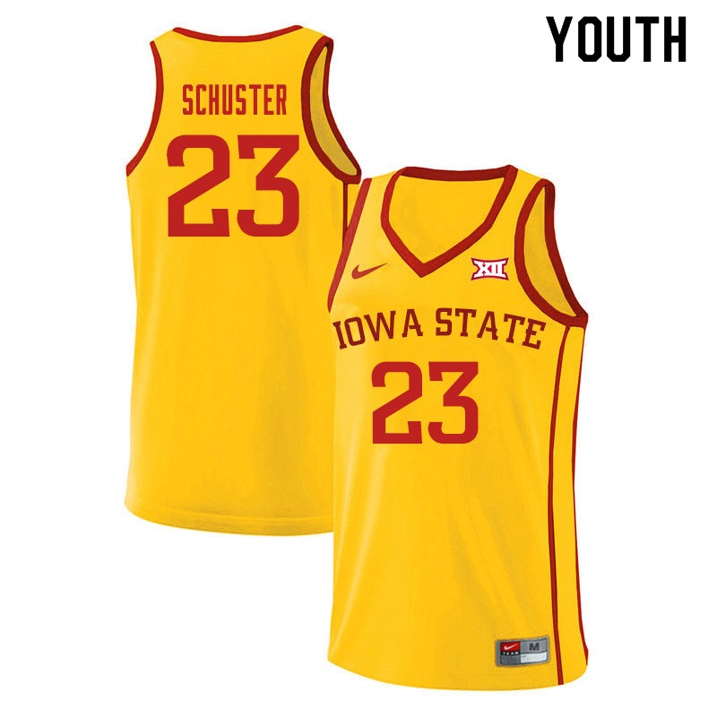Youth #23 Nate Schuster Iowa State Cyclones College Basketball Jerseys Sale-Yellow