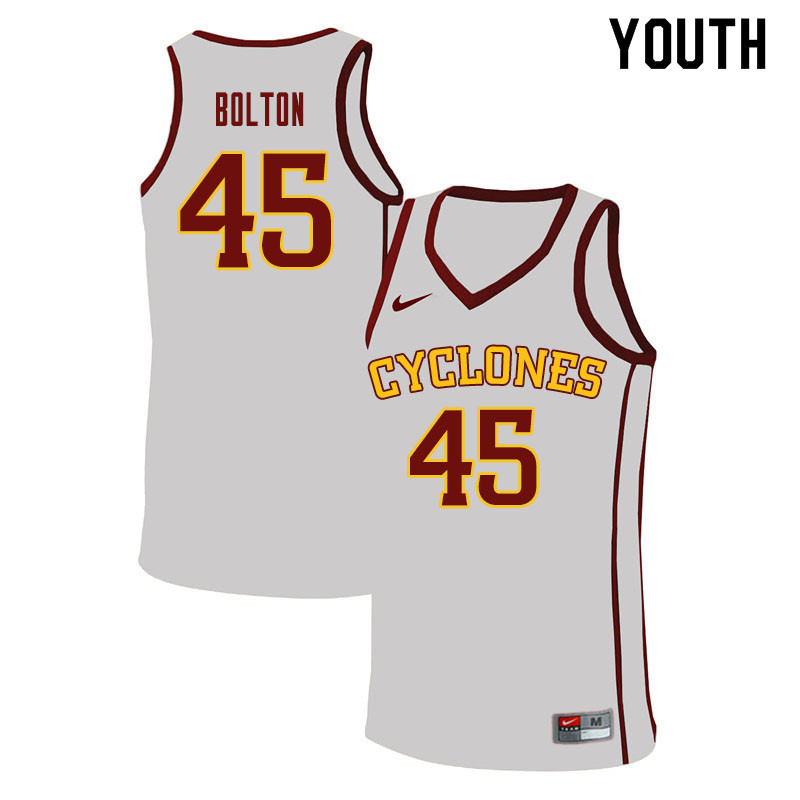 Youth #45 Rasir Bolton Iowa State Cyclones College Basketball Jerseys Sale-White
