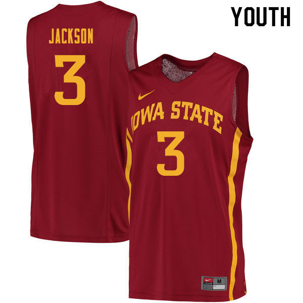 Youth #3 Tre Jackson Iowa State Cyclones College Basketball Jerseys Sale-Cardinal