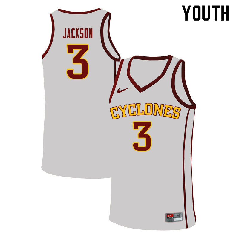 Youth #3 Tre Jackson Iowa State Cyclones College Basketball Jerseys Sale-White