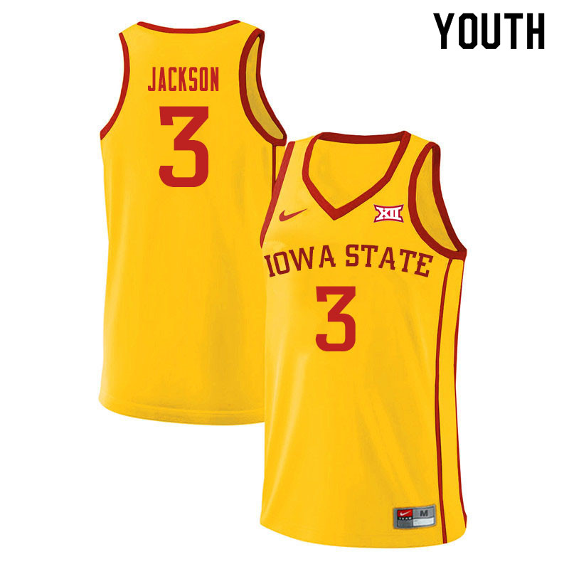 Youth #3 Tre Jackson Iowa State Cyclones College Basketball Jerseys Sale-Yellow