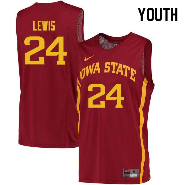 Youth #24 Terrence Lewis Iowa State Cyclones College Basketball Jerseys Sale-Cardinal